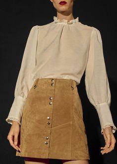 Snap leather skirt   MANGO