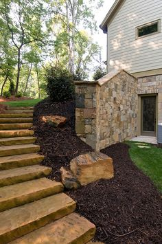 Complete a deck or porch remodel with custom stone steps and wall. Details like these set a project apart. Atlanta, Georgia.