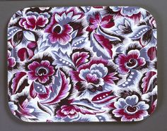 Birchwood tray with fabric (unknown design) 1930s