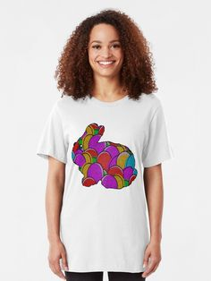 'Cute Easter Bunny & Rainbow Eggs' T-Shirt by dennieb Cool Tees, Cool T Shirts, Fisher, Cute Easter Bunny, Best Tank Tops, T Shirts With Sayings, Graphic Shirts, Apparel Design, Vintage Style Outfits