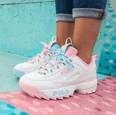 fila shoe Daddy sneakers styling ideas Just Trendy Girls Cute Sneakers, Shoes Sneakers, Colorful Sneakers, Girls Sneakers, Shoes Heels, Souliers Nike, Sneakers Fashion, Fashion Shoes, Fashion Outfits