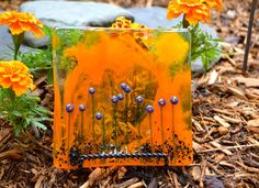 Wildflowers Fused Glass Plate by dortdesigns on Etsy