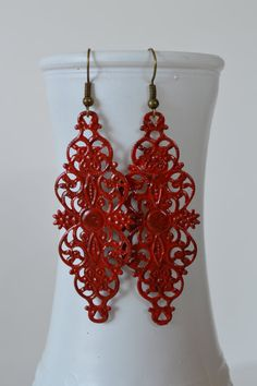 Dark Red Flower Filigree Earrings, Boho Filigree Earrings, Statement Earrings, Fall Earrings, Antique Bohemian Earrings Hippie Earrings
