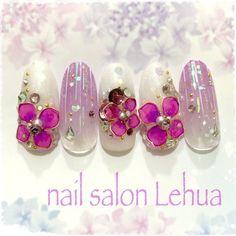 Gem Nails, Heart Nails, Salons, Nail Polish, Pearl Earrings, Gems, Ribbon, Butterfly, Flower