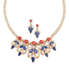 """Pretty and prideful red, white and blue colored insets in goldtone collar necklace with matching earrings. Introducing Signature Collection: Effortless style that's totally wearable. Pieces that flatter your shape and fit in comfortably with your lifestyle. That's the heart of Avon's Signature Collection. Designed by Avon. Inspired by you. Meet your new favorite label.FEATURES• Necklace is 16 1/2"""" L with a 3 1/2"""" extender•Earrings are 3/4"""" L•Lobster claw closu..."""