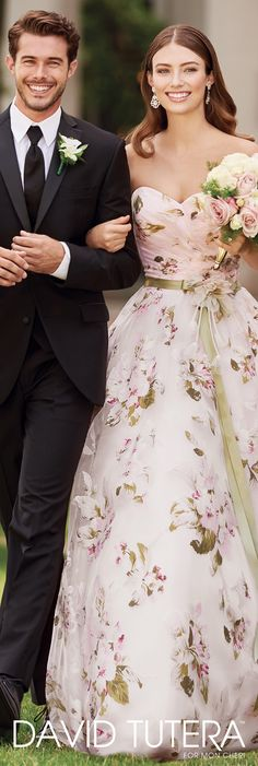 David Tutera for Mon Cheri Spring 2017 Collection - Style No. 117283 Orabelle - strapless pink floral wedding dress with satin ribbon flowered belt
