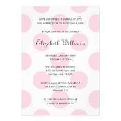 Sweet Pink Polka Dots Baby Girl Shower Invitation