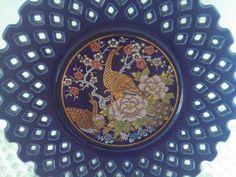 Vintage Cobalt Porcelain Peacock Decorative by AnchorLineVintage
