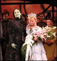 Idina Menzel and Kristin Chenoweth after Kristin Chenoweth's last show as Glinda in Wicked.