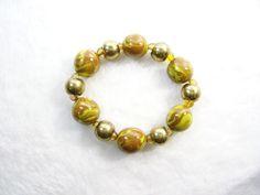 Sienna and Yellow Stretch Bracelet