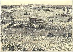 Vincent Van Gogh landscape drawing.