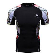 2017 new skulls VS Superman T-shirt T-shirt 3D print T-shirt Men's short sleeve dress Fitness clothing Slim fit Compression Top
