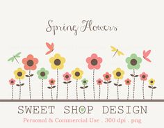Flower Clip Art, Baby Shower Clip Art, Royalty Free Clip Art, Spring, Instant Download by SweetShopDesign, $4.95