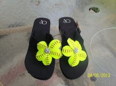 Hey, I found this really awesome Etsy listing at http://www.etsy.com/listing/128526076/softball-flip-flops