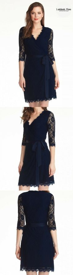 Designer Style // This navy blue lace overlay plunge wrap-style dress has enough sophistication to give your look a flirty touch! Get to know more here http://www.lookbookstore.co/products/navy-blue-lace-overlay-plunge-wrap-style-dress