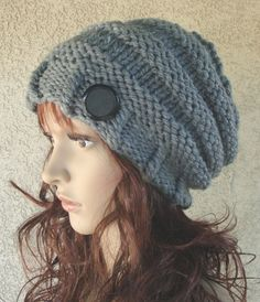 Handknitted Grey Slouchy beanie Women's hat Teens by LolasWonders