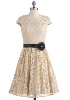 Dine with Me Dress - Cream, Black, Flower, Lace, Wedding, Party, A-line, Cap Sleeves, Fall