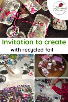 Top Ten Everyday Living Insurance Plan Misconceptions Fine Motor Recycling Fun With Foil - The Empowered Educator # Outdoor Activities For Kids, Creative Activities, Toddler Activities, Summer Activities, Toddler Fun, Toddler Crafts, Preschool Activities, Motor Activities, Recycled Crafts Kids