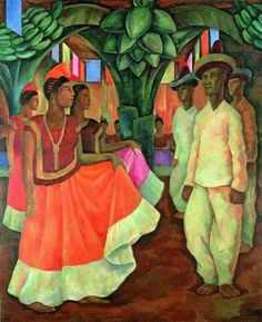 lyghtmylife:  Diego Rivera  (Mexican; Social Realism, Mexican Mural Movement, 1886-1957) Dance in Tehuantepec (Baile in Tehuantepec), 1928.  Oil on canvas, 200.7 x 163.8cm.  Collection of Clarissa and Edgar Bronfman Jr.