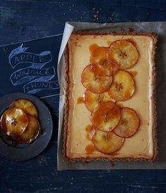 Australian Gourmet Traveller recipe for apple and honey tart with walnut crumb crust.