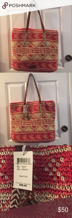 """🍀NWT. Lucky Brand Tango Tote Hibiscus🍀 Unused, perfect condition.  Woven fiber with fabric lining.  Magnetic closure, leather trim.  Logo hang tag and price tag attached. 15x18x3.5, 10.5""""drop. Lucky Brand Bags Totes"""