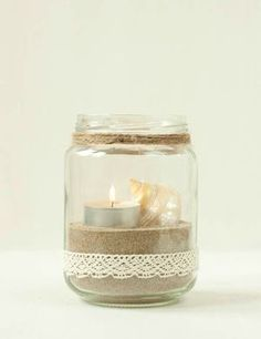 Glass, Sand and Salt Candle Holders Home Crafts, Diy Home Decor, Diy And Crafts, Candle Jars, Candle Holders, Candles, Mason Jar Crafts, Bottle Crafts, Mason Jars