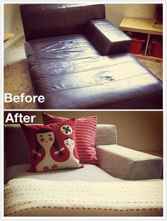 before u after fabric over leather slipcover by comfort works ikea kramfors replacement leather
