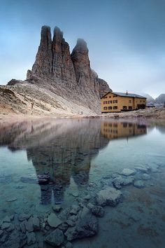 Vajolet towers in group of Catinaccio, with refuge Re Alberto, Dolomites, Italy-OMG some day! I can not wait to go to Italy! Places Around The World, Oh The Places You'll Go, Places To Travel, Places To Visit, Around The Worlds, Travel Stuff, Italy Vacation, Italy Travel, Travel Europe