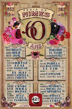 J-2 Avant la #Feria de Nîmes. Voici l'affiche des 60 ans de la Feria de #Nîmes