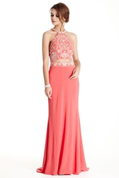 Prom Dress APL1761.  Floor Length Sheath Shape Prom and Evening Dress has Gemstone and Beading Embellished Halter Bodice with Open Midriff and Multiple Cutout Back. Solid Color Skirt has Beaded Waistline and Sight Train.  https://www.dresstopic.com/prom-dresses/prom-dress-apl1761