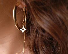 North Star hanging link earrings, tiny star pendant, fine earrings sterling silver 925 gold plated