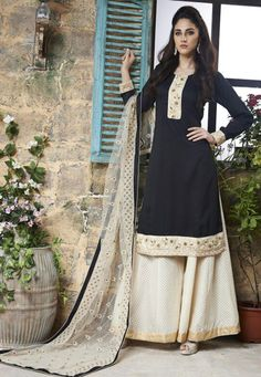 Black and Cream Cotton Silk Party Wear Suit 7850/-