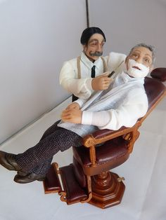 Victorian barber shaving customer by Jo Med. RESERVED FOR by JoMed, $479.00