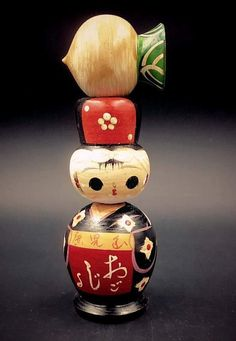 Original Vintage Japanese Sosaku Kokeshi Dolls Asian Antiques Set Of 2 By Hajime Miyashita