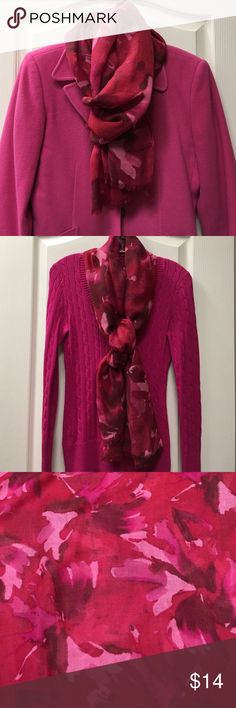 "Ann Taylor Scarf Bright beautiful floral pattern in pinks, reds and burgundy! Make a statement whatever you wear it with! LIKE NEW  24""W - 72""L ✨Great Deal! 😊 Smoke Free home. Question? I'm here to help!    Fast Shipper 📦               ✅ Bundle discount 15% off 2 items. Ann Taylor Accessories Scarves & Wraps"
