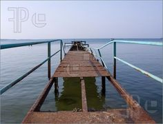 Picture of Bulgaria, coast, sea, rusty old bridge, the horizon, hole, far, way