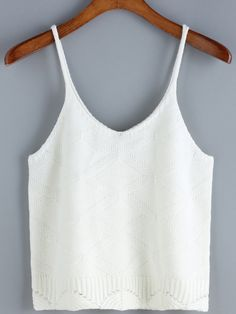 Spaghetti Strap Knit Scalloped Hem White Cami Top 10.83