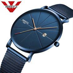 Cool Watches: Best Price NIBOSI Luxury Watches Men Blue Stainless Steel Ultra Thin Watches Men Classic Quartz Date Men's Wrist Watch Relogio Masculino Tag Heuer, Men's Watches, Cool Watches, Fashion Watches, Fashion Men, Wrist Watches, Male Watches, Dress Fashion, Watches Online