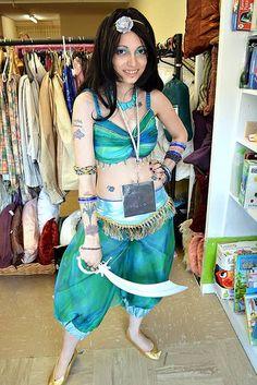 Jasmine Costume made by Uniquekerer, Goldfishdreams, Handmade, Crafted, OOAK, Costume, Beautiful, Unique, Jasmine, Disney, Cosplay, Geisha Wigs,