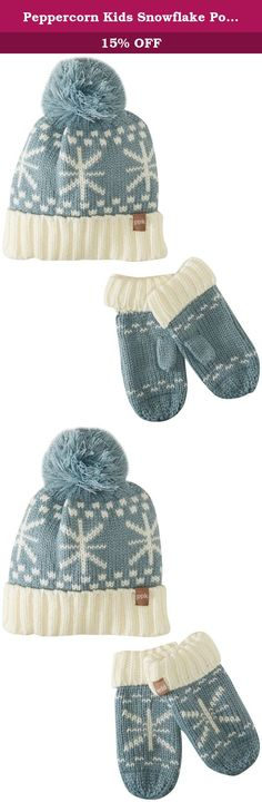 dfee760a757aad Peppercorn Kids Snowflake Pompom Beanie and Mitten Set XL (6-12y), Frost