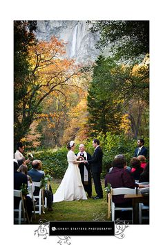 Yosemite NP wedding: Yosemite Falls in the background.