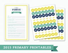2015 Primary Spotlight Form, Birthday, and 'I Can Be Reverent' Stickers