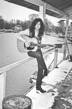 Jimmy Page at his boathouse in Pangbourne on the Thames