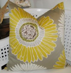 Yellow and Grey pillow cover
