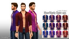MoarManlyOpen-ups instock!As usual 3 styles and 4 colours per style. There are 2 vintage and 1 fun style in pretty saturated regal colours.Hope you Enjoy.DownloadYou need lumialoversims mesh for these to show up. You can get them HERE