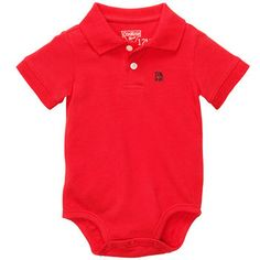 Short-Sleeve Pique Polo Bodysuit | Baby Boy World's Best Overalls Size: 6M