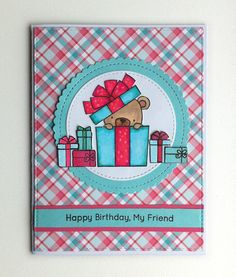 Card  with critters bear gift MFT Beary Special Birthday Die-namics #mftstamps, Lawn Fawn Perfectly Plaid paper  - JKE