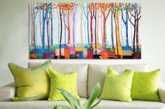 Modern abstract bush forest bright coloured trees painted canvas oil painting