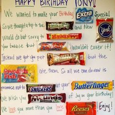 Easy DIY gift ideas - LOVE these birthday candy poster ideas to make for his (or her) birthday party! This is a great candy poster card to give from a group! Birthday Candy Grams, Birthday Candy Posters, Candy Birthday Cards, Birthday Presents, Candy Bar Poems, Candy Bar Cards, Card Candy, Birthday Board, Birthday Diy