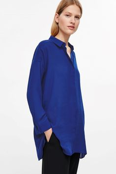 COS image 2 of Long oversized shirt in Blue